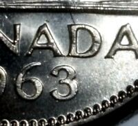 Canada 1963 5 Cent Nickel *Double 3 Variety* Gem BU!!