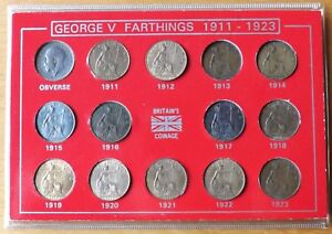 British George V Complete Farthing Coin Set 1911-1923 Great Grade's Cased.