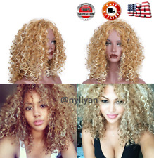 Synthetic Hair Long Afro Curly Wig Mix Blonde Color Wig Women Fashion Wigs US