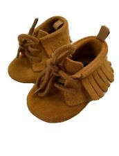 Baby Gap Unisex Lace Up Fringe Moccasins Shoes Suede Brown 3-6 Months