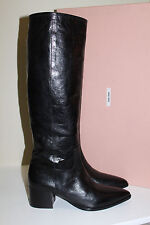 New 7.5 37.5 Miu Miu / Prada Pointed Toe Black Leather Knee High Flat Boot Shoes
