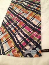 Authentic Coach Long Scarf Plaid Print Fabric Has Burn Out Pattern Multi Color