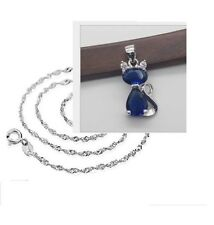 Silver Hello KITTY CAT PENDANT NECKLACE Blue Saphaire CRYSTAL Chain Gift Box A9