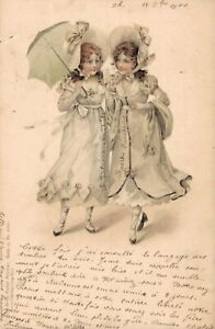Victorian Girls With Umbrella Vintage Postcard 06.32