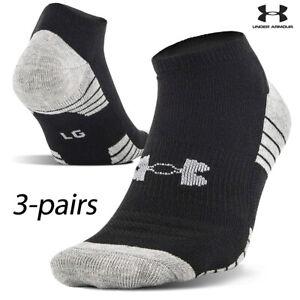 UA Socks: 3-PAIR HeatGear Tech No Show (L) Black