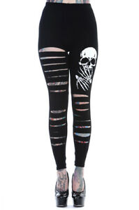 BANNED Apparel Women's Gothic Emo Punk Rockabilly Black Slashed Skull Leggings