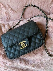 Borsetta tipo Chanel Con Logo a tracolla in Ecopelle nera trapuntata