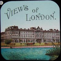 Glass Magic Lantern Slide VIEWS OF LONDON BUCKINGHAM PALACE C1890 DRAWING TITLE