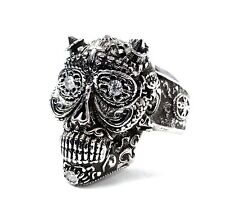 The Day Of The Dead Floral Skull  Ring With Natural Diamonds By Sacred Angels
