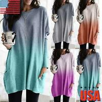 Womens Gradient Long Sleeve T-Shirt Ladies Pocket Casual Loose Blouse Tunic Tops
