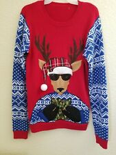 Ugly Christmas Sweater Blue Reindeer Size S