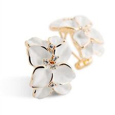 Ear Stud Earrings With Buckle Ear Buckle Black Gardenia Flower White Enamel