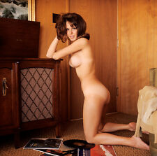 Vintage 1960s Nude Brunette at HIFI Playing Records 8 x 8 Photograph