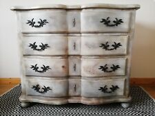 Antique painted French Chest Drawers Serpentine commode chic country home