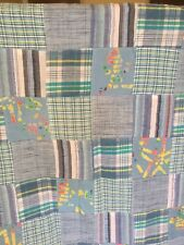 Vintage Blue Patchwork Fabric 3.5 Yards Assorted Squares Sewn Together