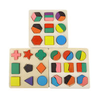 NEW Kids Baby Wooden Learning Geometry Educational Toys Puzzle Xmas!