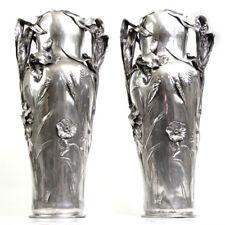 Rare Art Nouveau Pair Of Large Pewter Floor Vases J.R. Hannig Germany Ca 1900