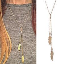 WomenFashion Long Chain Necklace Chic Leaf Feather Tassel PendantNecklaces T0AU