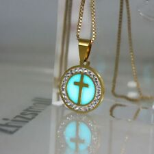 Cross Pendant Stainless Steel Glow in Dark Link Chain Necklace With Faux Diamond