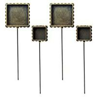 4 New Square Shape Bezels Hatpins Stick Pins fill w/ Ice Resin, Paper, Ephemera
