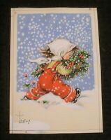"CHRISTMAS Cute Girl w/ Poinsettia in Blizzard 5.25x7"" Greeting Card Art #125-1"
