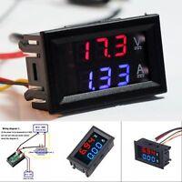 DC 100V 10A Voltmeter Ammeter Blue + Red LED Dual Digital Volt Amp Meter Gauge #