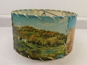 "Vintage/Retro Lampshade 10"" Wide Drum Shaped Photo Landscapes"