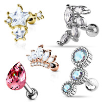 Barbell Studs Helix Tragus Rook Piercing Crystal Stars Conch Cartilage Earrings