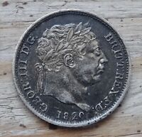 Great Britain One Shilling Coin~1820 George III~.925 Silver 5.6g~KM#666~aEF~#548