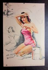 """Vintage June 1945 sexy risque pin-up calendar page by KO Munson  9"""" x 14"""""""