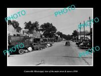 OLD LARGE HISTORIC PHOTO OF CENTREVILLE MISSISSIPPI, THE MAIN St & STORES c1950