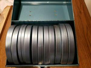 """Lot of 12 - standard 8mm Metal 5"""" Film Reels w/ Metal Case. 3 reels have film"""