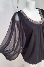 DOROTHY PERKINS sheer black mesh puff sleeve Diamante' round neck blouse top 10
