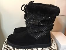 SKECHERS AUSTRALIA BLACK SUEDE BOOT WOMENS SIZE 11
