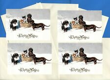 DACHSHUND DOGS AND KITTENS PACK OF 4 CARDS DOG PRINT GREETING CHRISTMAS CARDS