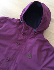 FRED PERRY BURGUNDY FLEECE LINED HOODED OFFSHORE PARKA JACKET XL shower proof