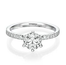 G/I1 Round Cut Enhanced Diamond Engagement Ring 1.49 CT 18K White Gold Women's