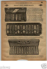1913 PAPER AD Store Display Diamond Edge Safety Press Button Pocket Knife Knives
