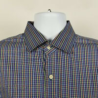 Peter Millar Crown Finish Blue Purple Mini Check Mens Dress Button Shirt Size XL