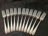 Set 11 x Dinner Forks 1847 Rogers International Silver Daffodil 1950 silverplate