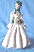 "Vtg Florence Ceramics Lady Delia Figurine Pasadena California Burgundy Gray 6"""