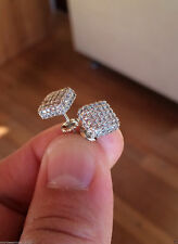 Men's Women's 14K White Gold Over Earrings 1.28 CT Round Pave Diamond Cube Studs