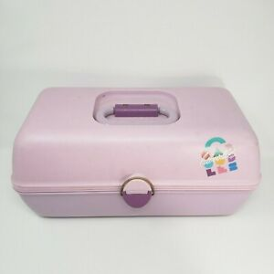 CABOODLES MAKEUP / NAIL PURPLE COSMETIC ORGANIZER PURPLE CARRYING CASE W/ MIRROR