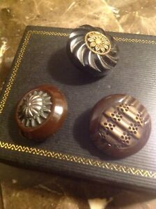 Vintage LOT OF 3  Bakelite Coat Buttons Carved and Fancy