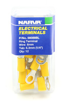 2x Narva ELECTRICAL RING TERMINALS 5-6mm With 6.3mm Hole 12Pcs Insulated YELLOW