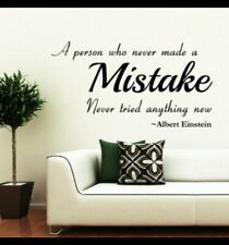 Albert Einstein Wall Quote Home Sticker Make Mistakes Famous Try Things Quote...