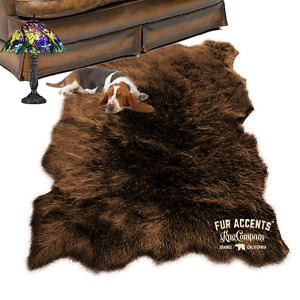 Faux Fur Area Rug , Sheepskin Shape, Plush Shag, All Sizes, Colors, Made in USA