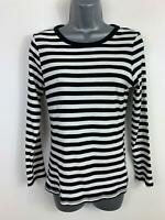 WOMENS M&S COLLECTION WHITE/BLACK STRIPE CREW NECK CASUAL T SHIRT TOP SIZE 12
