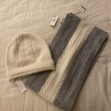 Nwt Talbots Pure Cashmere  Gray With Cream Stripe Scarf And Hat Set