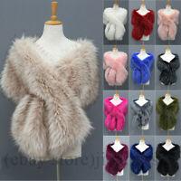 Women Winter Faux Fur Scarf Neck Long Warmer Wrap Extra Large Collar Shawl Stole